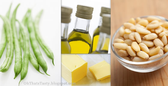 Green beans and pine nuts: the ingredients
