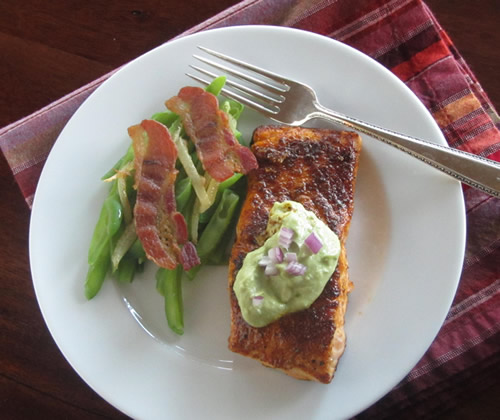 Ancho-crusted salmon with avocado crema
