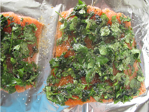 Herb-crusted salmon, in the making