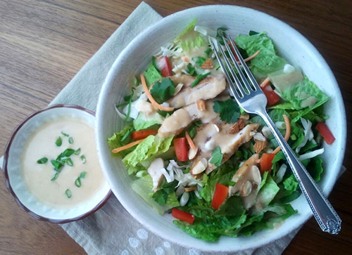 Ginger-peanut dressing on Asian chicken salad