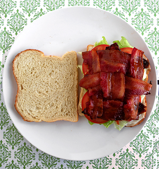 bacon-weave on a BLT