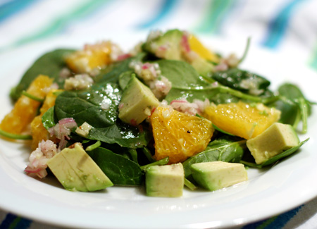 Paleo/whole30 dinner: mango spinach salad
