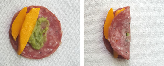 paleo appetizer: salami assembly