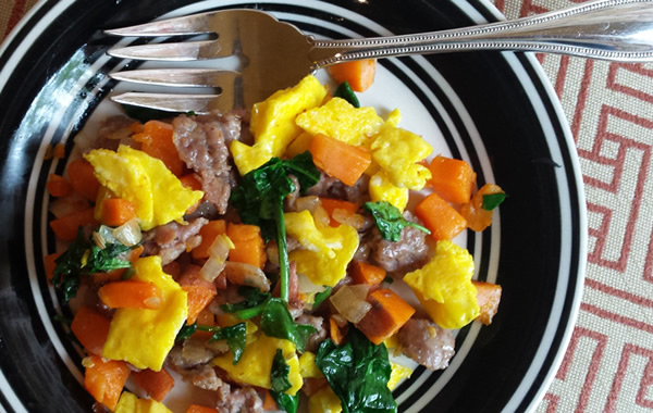 whole30 paleo breakfast eggs sausage sweet potato spinach