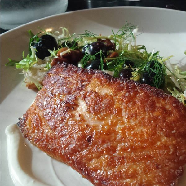 restaurant review; 715 Lawrence - pan seared salmon