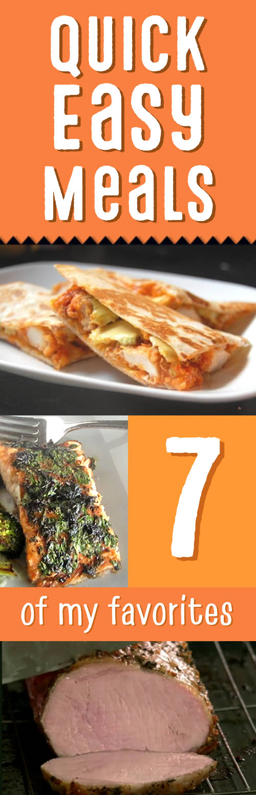 These are my go-to recipes when I need something quick, easy, and brainless for dinner! Buffalo chicken quesadillas, sloppy jo'tatoes, herb-crusted salmon, and more. Most of them Paleo-friendly!